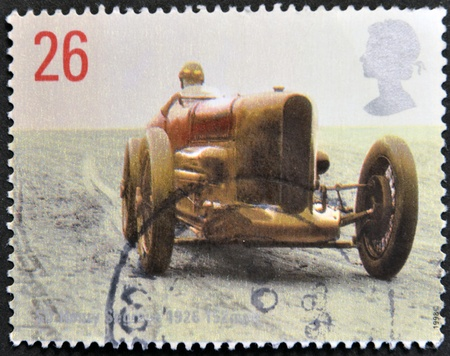 UNITED KINGDOM - CIRCA 1998  A stamp printed in Great Britain shows image of Sir Henry Seagrave's Sunbeam, 1926, circa 1998