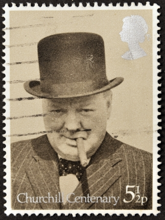 postal office: UNITED KINGDOM - CIRCA 1974  A stamp printed in Great Britain showing Sir Winston Churchill, circa 1974