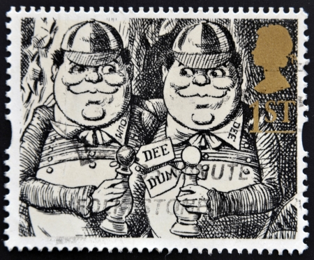 lewis carroll: UNITED KINGDOM - CIRCA 1993  A stamp printed in Great Britain shows Tweedledum and Tweedledee  Alice Through the Looking-Glass , circa 1993