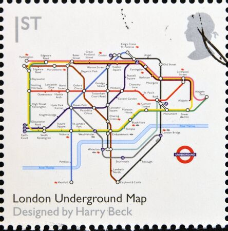 underground: UNITED KINGDOM - CIRCA 2009  A stamp printed in Great Britain dedicates to Design Classics, shows London Underground Map by Harry Beck, circa 2009