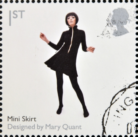 UNITED KINGDOM - CIRCA 2009  A stamp printed in Great Britain dedicates to Design Classics, shows Mini Skirt by Mary Quant, circa 2009