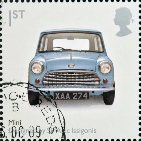 UNITED KINGDOM - CIRCA 2009: A stamp printed in Great Britain dedicates to Design Classics, shows Mk 1 Austin Mini by Sir Alec Issigonis, circa 2009