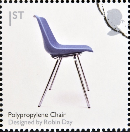 UNITED KINGDOM - CIRCA 2009  A stamp printed in Great Britain dedicates to Design Classics, shows Polypropylene Char by Robin Day, circa 2009