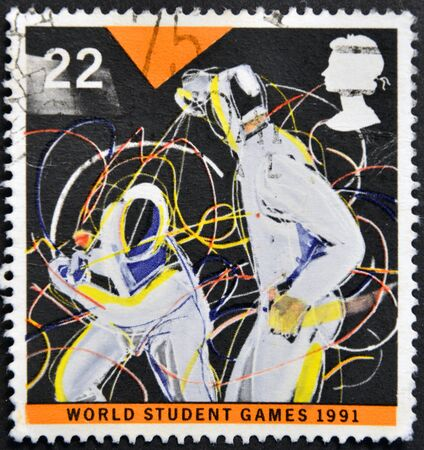 UNITED KINGDOM - CIRCA 1991  a stamp printed in Great Britain shows fencing, circa 1991