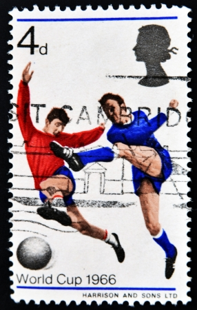 UNITED KINGDOM - CIRCA 1966  a stamp printed in Great Britain shows Soccer Players, World Cup 1966, circa 1966  Stock Photo - 14915415