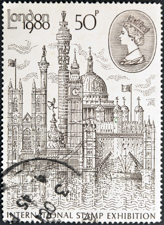UNITED KINGDOM - CIRCA 1980: A stamp printed in Great Britain shows  Montage of London Buildings, circa 1980