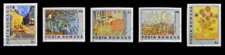 ROMANIA - CIRCA 1990: Collection stamps printed in Romania shows different paintings of Vincent Van Gogh, circa 1990