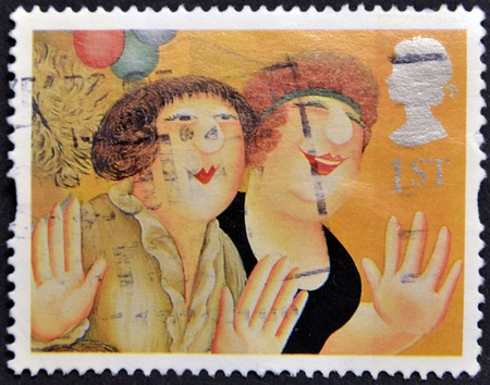 UNITED KINGDOM - CIRCA 1995: A stamp printed in Great Britain shows 'Girls on the Town'  by Beryl Cook, circa 1995 Stock Photo - 14938743