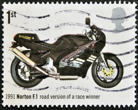UNITED KINGDOM - CIRCA 2005: A stamp printed in Great Britain shows Norton F.1, Road Version of Race Winner (1991), circa 2005 Stock Photo - 14938741