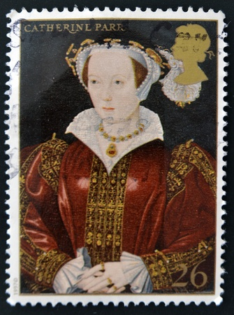 viii: UNITED KINGDOM - CIRCA 1997: A stamp printed in Great Britain shows Catherine Parr, wife of Henry VIII, circa 1997