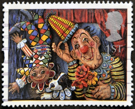 UNITED KINGDOM - CIRCA 1995: A stamp printed in Great Britain shows Circus Clowns (Emily Firmin and Justin Mitchell), circa 1995