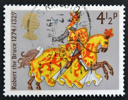 robert bruce: UNITED KINGDOM - CIRCA 1974: A stamp printed in the Great Britain shows Robert the Bruce, Great Britons, circa 1974