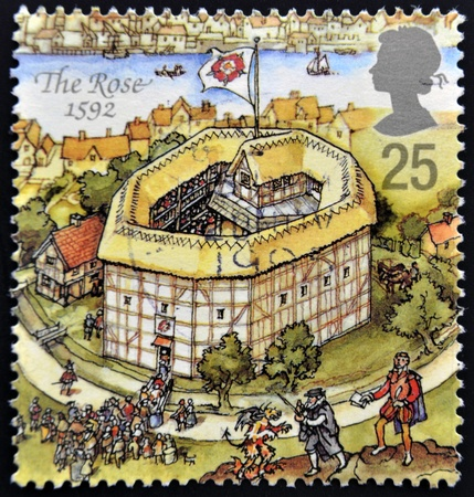 globe theatre: UNITED KINGDOM - CIRCA 1995: A stamp printed in Great Britain dedicated to Reconstruction of Shakespeares Globe Theatre, shows the rose, 1592, circa 1995