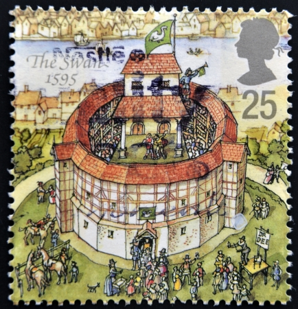 globe theatre: UNITED KINGDOM - CIRCA 1995: A stamp printed in Great Britain dedicated to Reconstruction of Shakespeares Globe Theatre, shows the swan, 1595, circa 1995