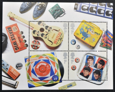 UNITED KINGDOM - CIRCA 2007: A stamp printed in Great Britain dedicated to The Beatles, circa 2007