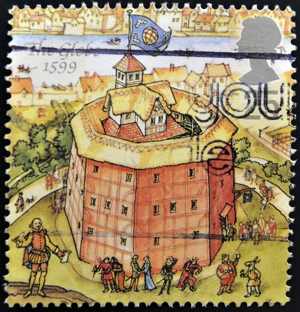 globe theatre: UNITED KINGDOM - CIRCA 1995: A stamp printed in Great Britain dedicated to Reconstruction of Shakespeares Globe Theatre, shows the globe, 1599, circa 1995 Editorial