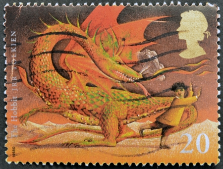 UNITED KINGDOM - CIRCA 1998: A stamp printed in Great Britain shows image of The Hobbit by JRR Tolkien, circa 1998.