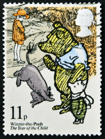 UNITED KINGDOM - CIRCA 1979: A stamp printed in Great Britain shows illustration from a childrens book Winnie the Pooh , circa 1979