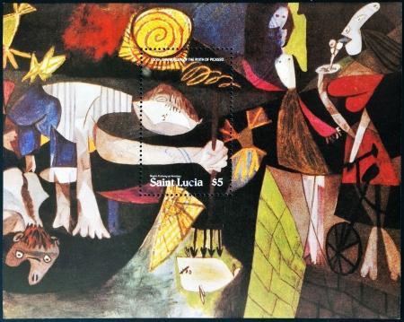 cubismo: SANTA LUC�A - CIRCA 1981: Sello impreso en Santa Luc�a muestra la pesca nocturna en Antibes de Picasso, que forma parte de la exposici�n permanente del Museo de Arte Moderno, alrededor de 1981