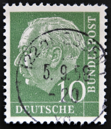 theodor: GERMANY - CIRCA 1955: A stamp printed in Germany shows Theodor Heuss, circa 1955