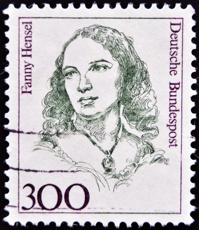 fanny: GERMANY - CIRCA 1989: A stamp printed in Germany shows Fanny Hensel, Composer, Conductor, circa 1989