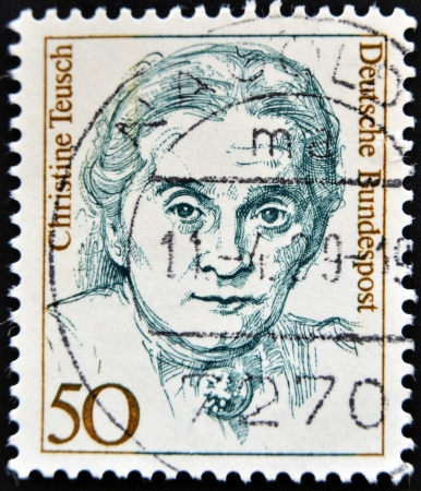 educations: GERMANY - CIRCA 1986: a stamp printed in Germany shows Christine Teusch, Minister of Educations and Cultural Affairs, circa 1986