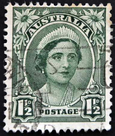 AUSTRALIA - CIRCA 1942: A stamp printed in Australia shows image of Elizabeth Bowes-Lyon was the Queen consort of King George VI, circa 1942.