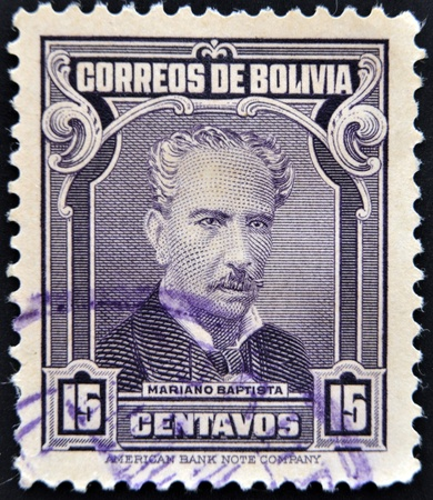 mariano: BOLIVIA - CIRCA 1975: A stamp printed in Bolivia shows Mariano Baptista, circa 1975 Editorial