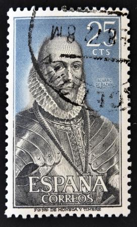 SPAIN - CIRCA 1966: A stamp printed in Spain shows Alvaro de Bazan, circa 1996