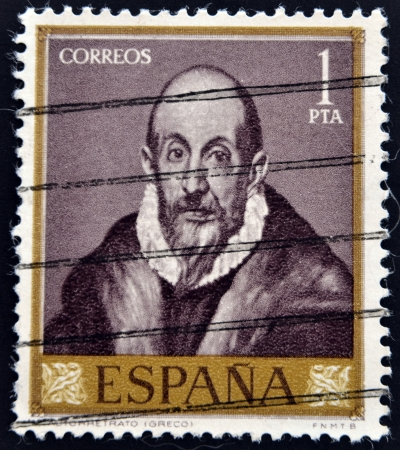 SPAIN - CIRCA 1961: A stamp printed in Spain  shows a self portrait of El Greco, circa 1961
