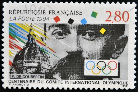 FRANCE - CIRCA 1994: A stamp printed in France shows Pierre de Coubertin, circa 1994 Stock Photo - 14938842