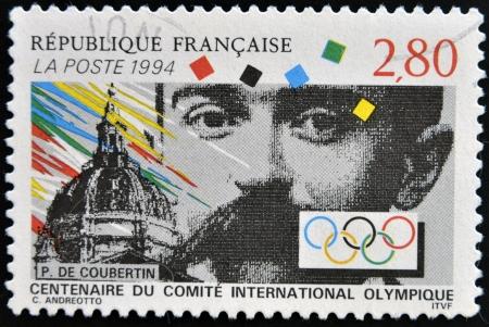 FRANCE - CIRCA 1994: A stamp printed in France shows Pierre de Coubertin, circa 1994 Stock Photo - 14938842