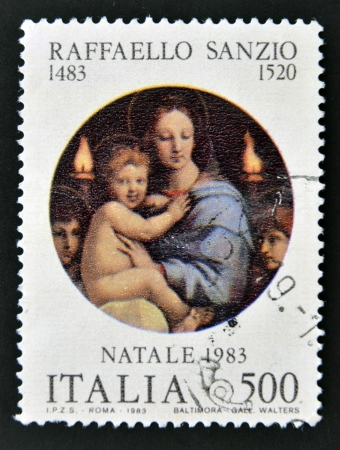ITALY - CIRCA 1983: A stamp printed in Italy shows Madonna of the Candles by Raphael, circa 1983.