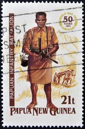 batallon: PAPUA NUEVA GUINEA - CIRCA 1992: Un sello impreso en Papua Papua muestra batall�n de infanter�a, alrededor de 1992