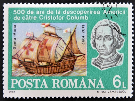 ROMANIA - CIRCA 1992  A stamp printed in Romania shows image celebrating the 500th anniversary of the landing of Christopher Columbus in the America, circa 1992