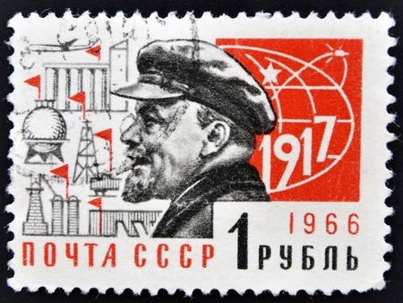 RUSSIA - CIRCA 1966  stamp printed in Soviet Union shows Lenin and industrial symbols, circa 1966