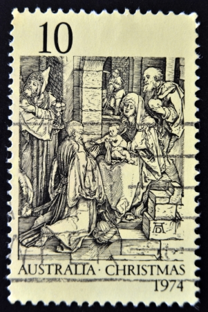 durer: AUSTRALIA - CIRCA 1974: A Stamp printed in Australia shows the Adoration of the Kings by Durer, circa 1974
