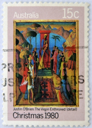 enthroned: AUSTRALIA - CIRCA 1980: A stamp printed in Australia shows detail of draw Virgin Enthroned by Justin OBrien, circa 1980