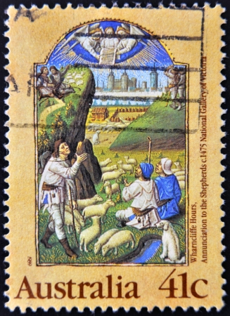 AUSTRALIA - CIRCA 1989: A Stamp printed in Australia shows the Annunciation to the Shepherds, from the Wharncliffe Hours, circa 1989 Stock Photo - 15138356