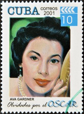 CUBA - CIRCA 2001: a  stamp printed in Cuba dedicated to the forgotten oscar award shows Ava Gardner, circa 2001.