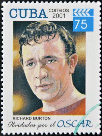 richard: CUBA - CIRCA 2001: a  stamp printed in Cuba dedicated to the forgotten oscar award shows Richard Burton, circa 2001.