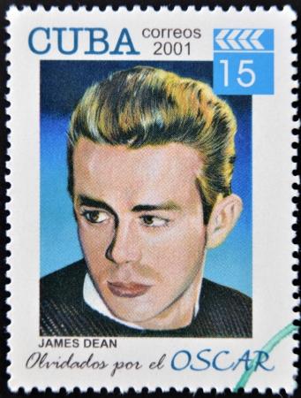 dean: CUBA - CIRCA 2001: a  stamp printed in Cuba dedicated to the forgotten oscar award shows James Dean, circa 2001.  Editorial
