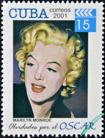 CUBA - CIRCA 2001: a  stamp printed in Cuba dedicated to the forgotten oscar award shows Marilyn Monroe, circa 2001.