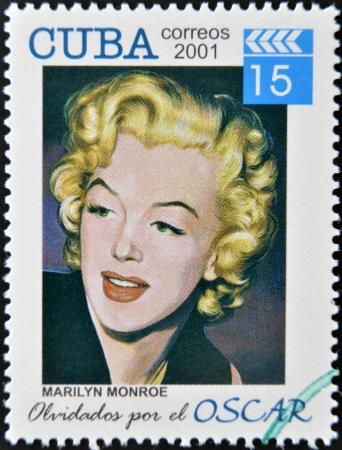 marilyn: CUBA - CIRCA 2001: a  stamp printed in Cuba dedicated to the forgotten oscar award shows Marilyn Monroe, circa 2001.