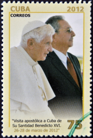 CUBA - CIRCA 2012: A stamp printed in cuba shows Raul Castro and Pope Benedict XVI, circa 2012