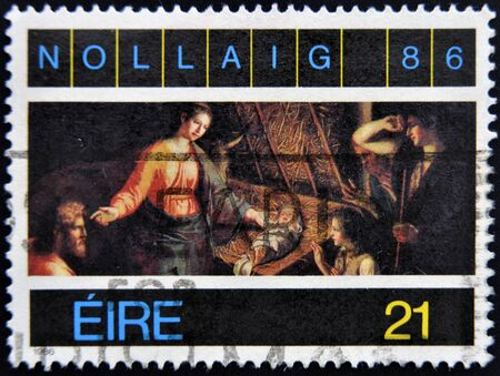 philately: IRELAND - CIRCA 1986: A stamp printed in ireland shows nativity, circa 1986