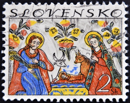 SLOVAKIA - CIRCA 1994: A stamp printed in Slovakia shows image of nativity, circa 1994  Stock Photo - 15138145