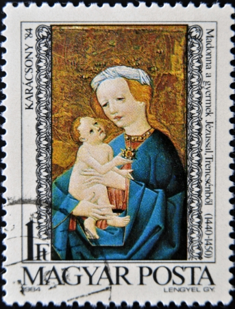 HUNGARY - CIRCA 1984: A stamp printed in Hungary shows Madonna and child, Trensceny, circa 1984.  photo