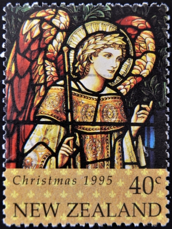NEW ZEALAND - CIRCA 1995 A stamp printed in New Zealand, is dedicated to Christmas, Stained glass windows, shows Archangel Gabriel, circa 1995