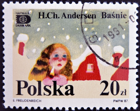 hans: POLAND - CIRCA 1987: A stamp printed in Poland dedicated to tales of Hans Christian Andersen, circa 1987